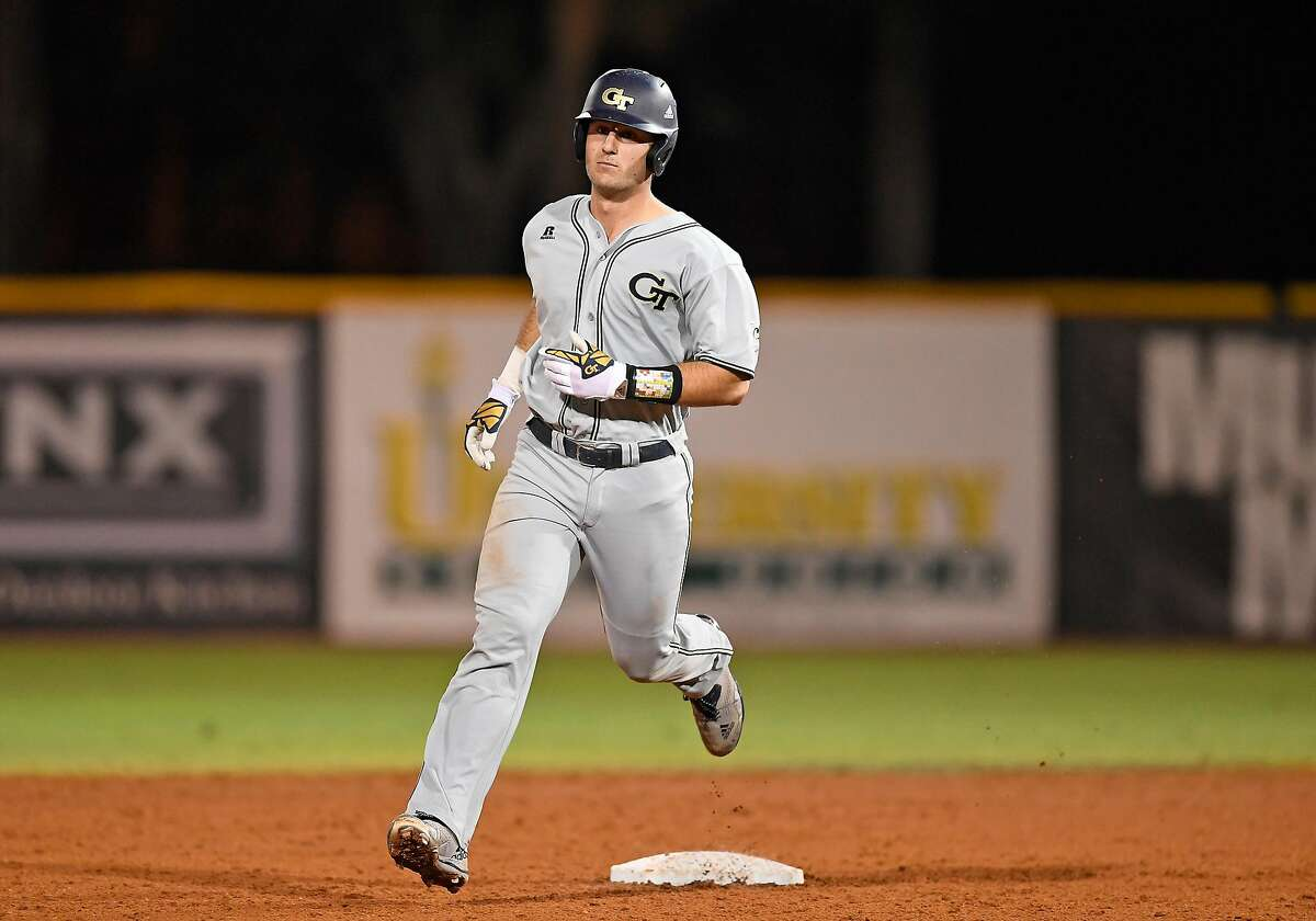CORAL GABLES, FL - MARCH 10: Georgia Tech catcher Joey Bart (9) hit a two run home run during a college baseball game between the Georgia Tech Yellow Jackets and the University of Miami Hurricanes on March 10, 2017 at Alex Rodriguez Park at Mark Light Field, Coral Gables, Florida. Miami defeated Tech 10-8. (Photo by Richard C. Lewis/Icon Sportswire via Getty Images)