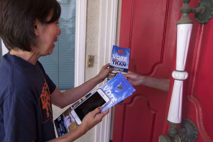 ROWLAND HEIGHTS, CA - JUNE 02: Dr. Mai Khanh Tran, Democratic candidate seeking election to the U.S. House of Representatives to represent the 39th Congressional District of California, canvasses targeted voters on June 2, 2018 in Rowland Heights, California. This predominantly Asian American community lies in historically Conservative Orange County.  (Photo by David McNew/Getty Images)