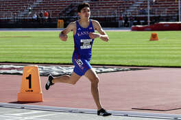Midland High alum and University of Kansas sophomore Bryce Hoppel runs in the National Relay Championships in April at John McDonnell Field in Fayetteville, Arkansas. Photo courtesy of Kansas Athletics
