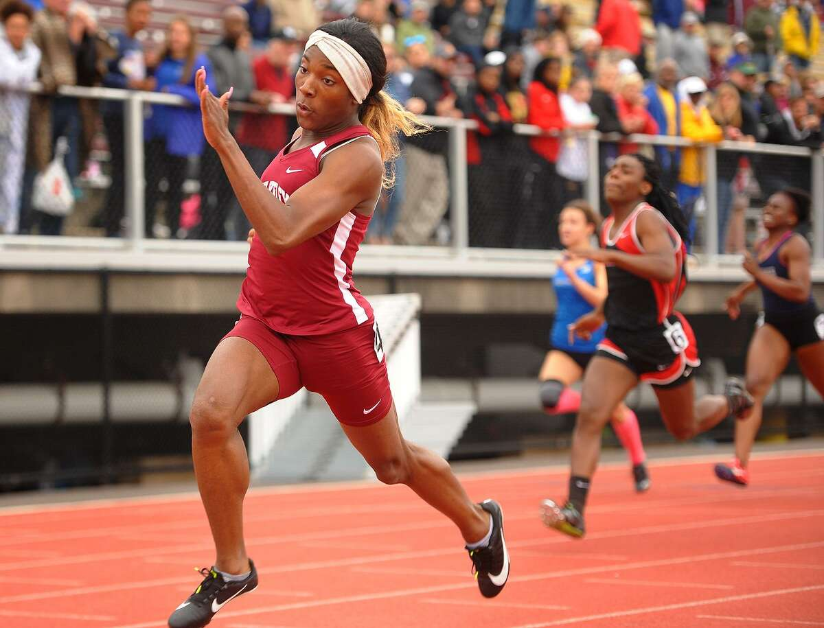 Transgender sprinter Terry Miller of Bulkeley High School wins going away in the girls 100 meter dash at the CIAC Track & Field Championships in New Britain..