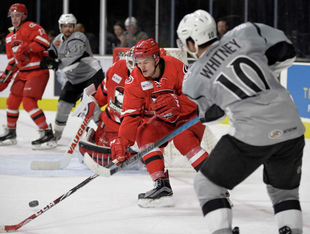 San Antonio Rampage left wing Joe Whitney shoots during the second period of an AHL hockey game against the Charlotte Checkers, Friday, Nov. 18, 2016, in San Antonio, Texas. (Darren Abate/AHL)