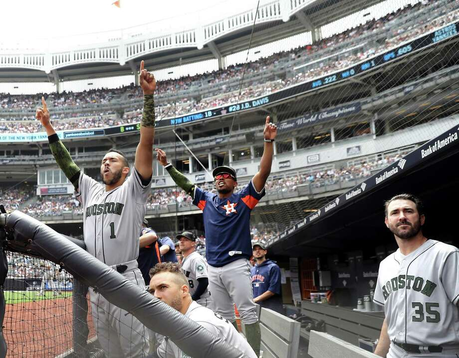 Carlos Correa (1) and the Astros won't be back in Yankee Stadium this season unless the teams meet in the playoffs like they did in 2017. Photo: Elsa, Staff / Getty Images / 2018 Getty Images