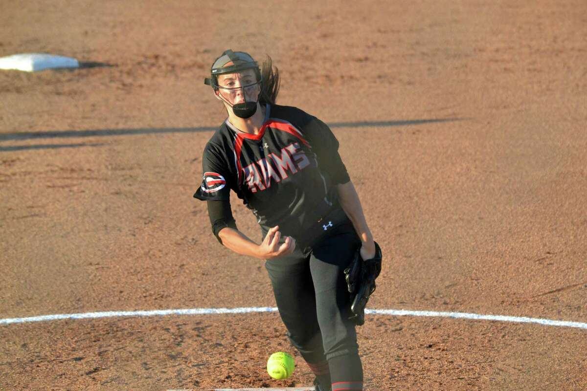 Cheshire pitcher Natalie Amato delivers against Trumbull in Monday's Class LL semifinal.