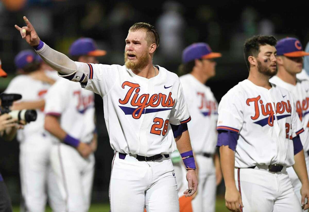 Clemson first baseman Seth Beer (28), reacts after Vanderbilt defeated Clemson, 19-6, in an NCAA college baseball regional game Sunday, June 3, 2018, in Clemson, S.C. (Bart Boatwright/The Greenville News via AP)