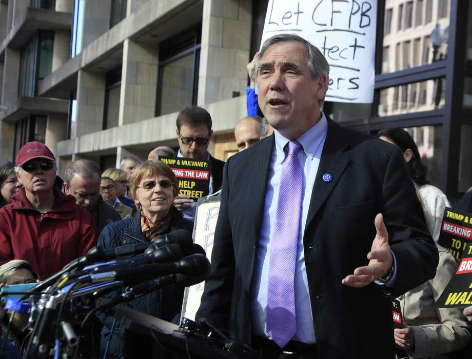 Sen. Jeff Merkley, D-Ore., shown at a Washington rally, was refused entry at the Casa Padre shelter in Brownsville. Photo: Manuel Balce Ceneta / Associated Press / Copyright 2017 The Associated Press. All rights reserved.