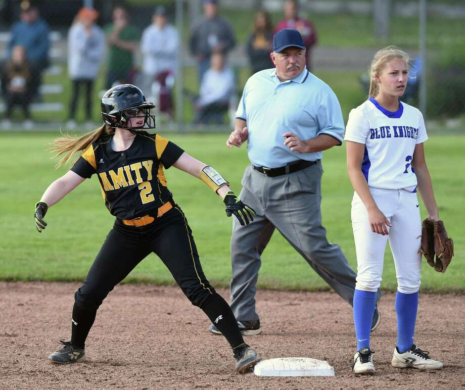 Action from the Amity vs. Southington in the Class LL softball semifinals in West Haven on June 4, 2018. Photo: Arnold Gold / Hearst Connecticut Media / New Haven Register