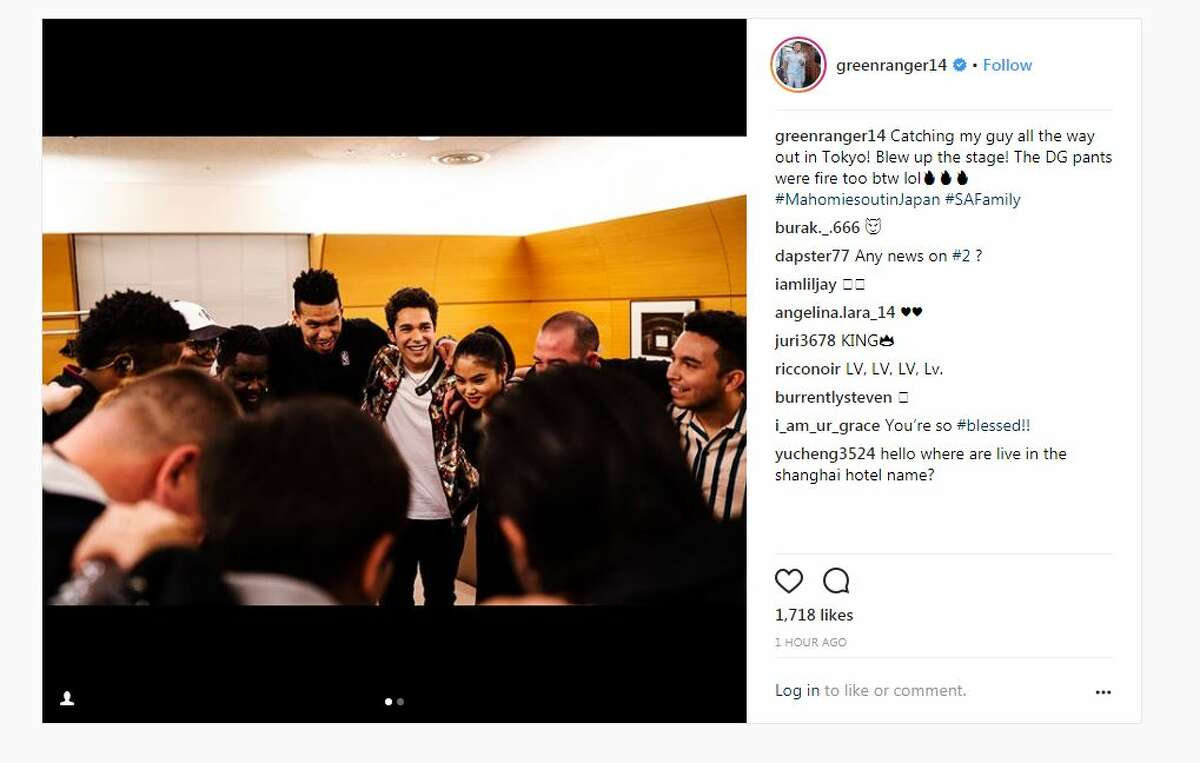 Danny Green caught a performance by Austin Mahone while visiting Tokyo.