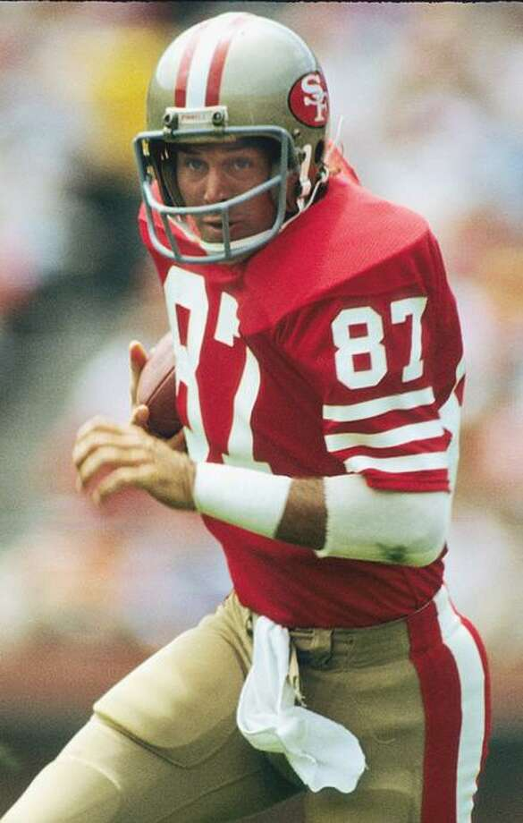 Dwight Clark #87 after catching a pass against the Los Angeles Raiders on September 12, 1982 in San Francisco, California. Photo: Ronald C. Modra / Sports Imagery / Getty Images / 1982 Ronald C. Modra/Sports Imagery
