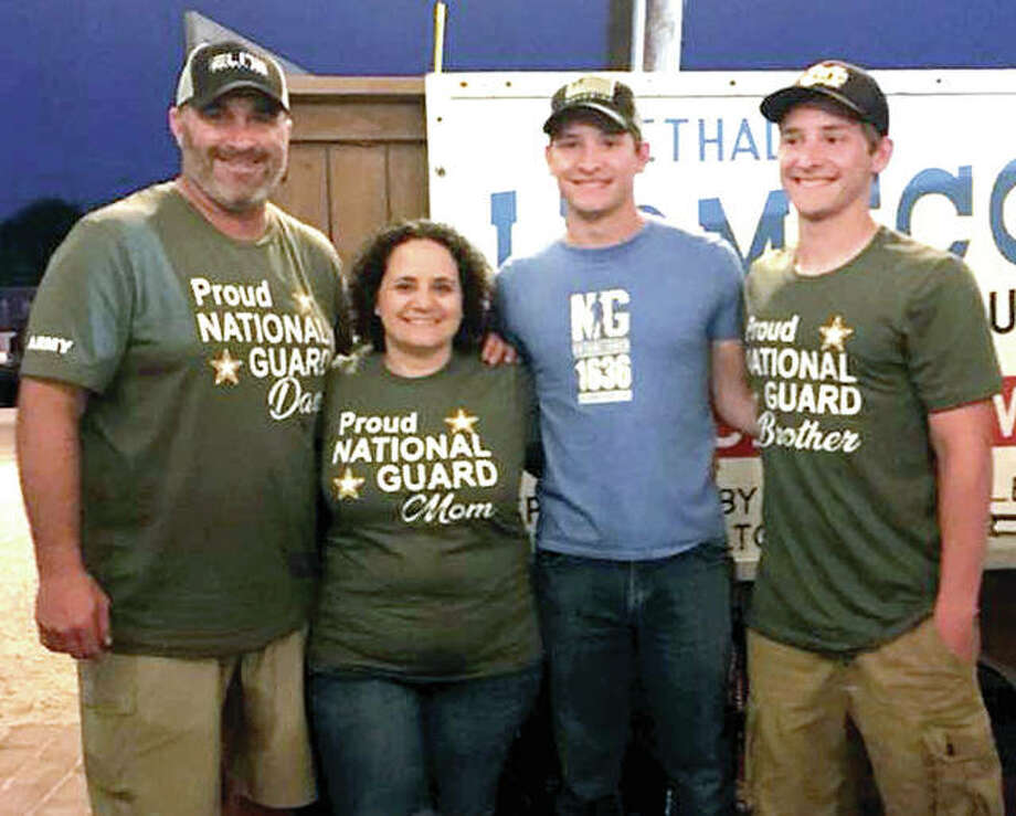 From left, Jonathan Denney, Karrie Denney and twin sons Kaleb Denney and Kameron Denney. Kaleb Denney was 18th in his recent CM graduation class and he was to leave for US Army Basic Training Monday. His brother Kameron was CM valedictorian and won the 2018 Silver Medallion Make Scholar Athlete Award. Photo:       Submitted Photo