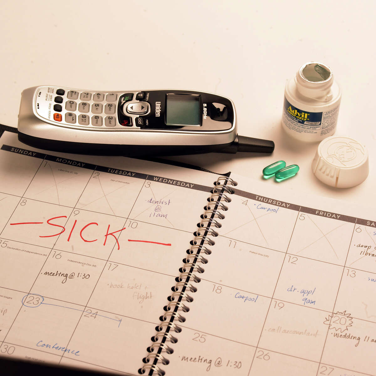 Stay home if you're sick. That's the advice from the nation's top health officials on how to stop the spread of contagious diseases, such as influenza, tuberculosis, gastrointestinal viruses, conjunctivitis and many other conditions that spread person-to-person. This is a photo illustration of a calendar with sick days marked on it, for the cover of the HEALTH section shot in the Times studio June 18, 2008.