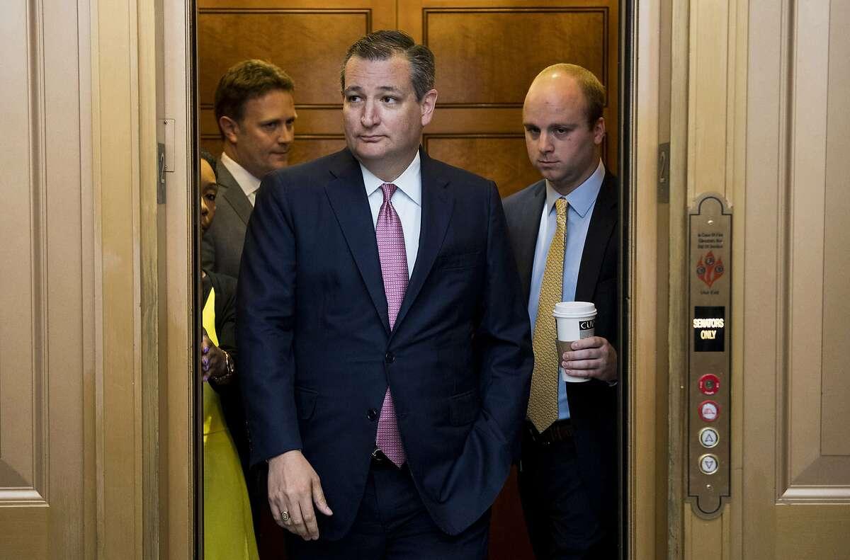 Sen. Ted Cruz (R-Texas) arrives for a vote in the Capitol on Thursday, July 20, 2017 in Washington, D.C. (Bill Clark/Congressional Quarterly/Newscom/Zuma Press/TNS)