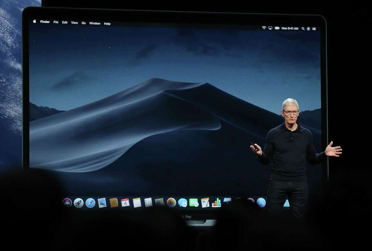 SAN JOSE, CA - JUNE 04: Apple CEO Tim Cook speaks during the 2018 Apple Worldwide Developer Conference (WWDC) at the San Jose Convention Center on June 4, 2018 in San Jose, California. The WWDC runs through June 8.