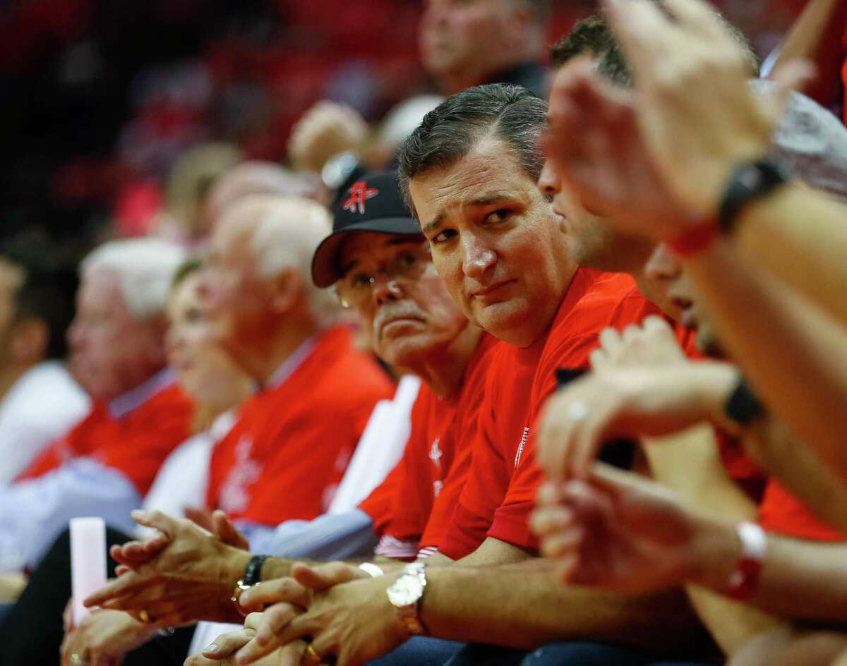 Ted Cruz watches Game 7 of the NBA Western Conference Finals at Toyota Center on Monday, May 28, 2018, in Houston. ( Brett Coomer / Houston Chronicle )