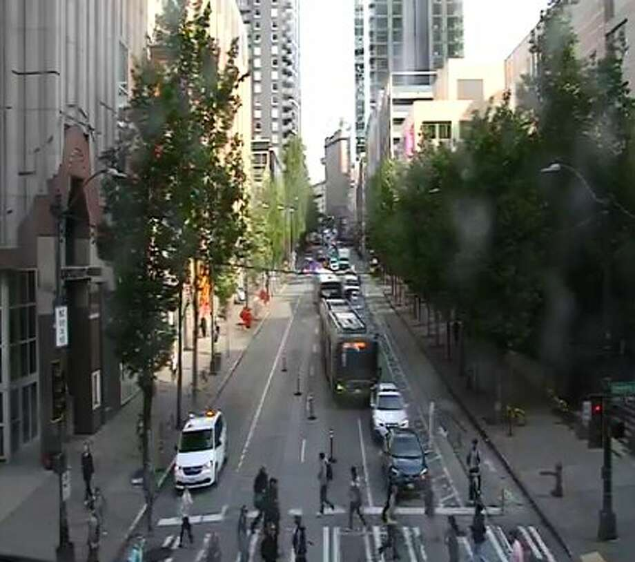 Just before 9 a.m. the Department of Transportation shut down 2nd Avenue at University Street. Photo: SDOT