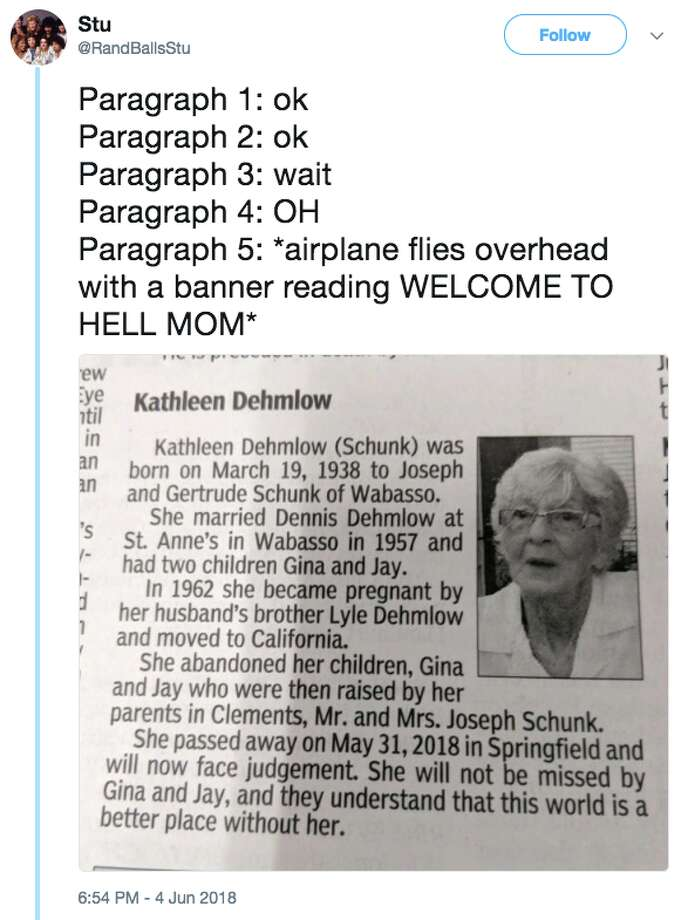 The Redwood Falls Gazette in Minnesota published an obituary on June 4 that's going viral. Photo: Twitter Screen Grab