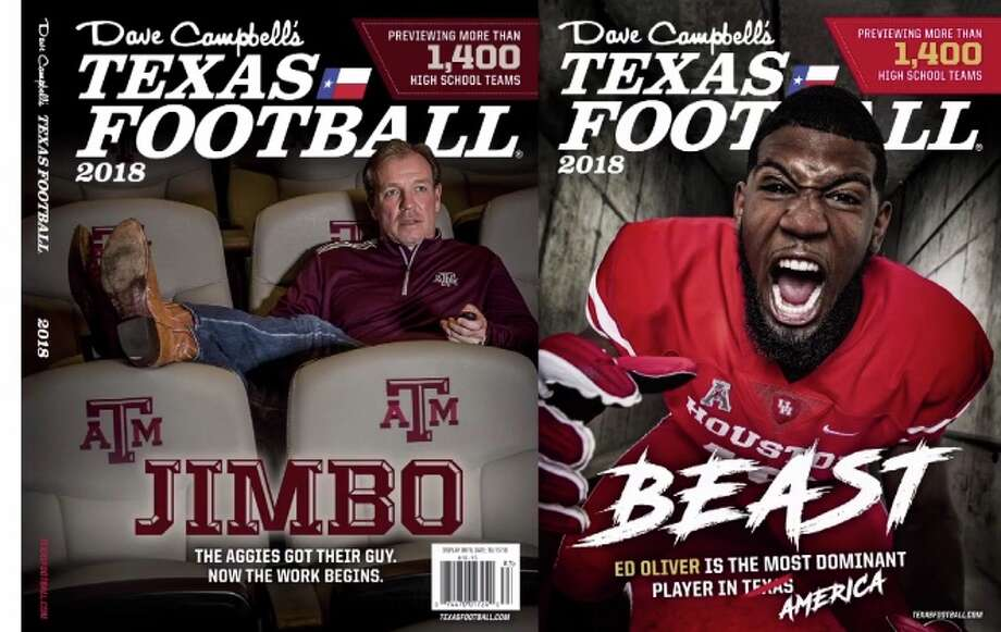 Texas A&M coach Jimbo Fisher and Houston defensive tackle Ed Oliver are featured on the covers of Texas Football's 2018 preview magazine. Photo: Texas Football Via Twitter