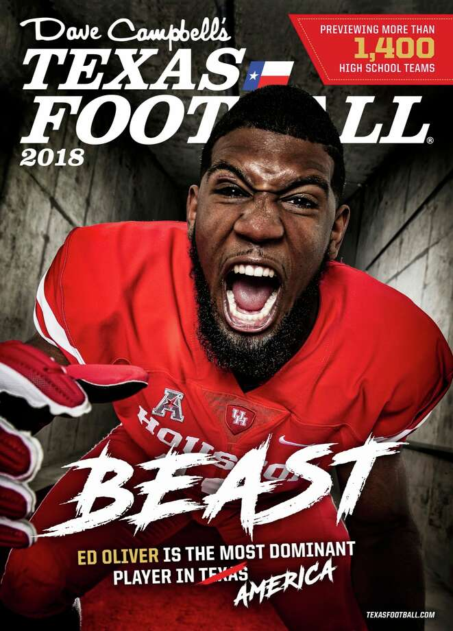 University of Houston's Ed Oliver is on the cover of the 2018Dave Campbell's Texas Football Magazine. Photo: Dave Campbell's Texas Football
