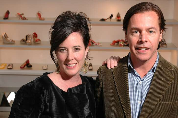 Happier times: Designer Kate Spade in San Francisco with her husband Andy Spade.