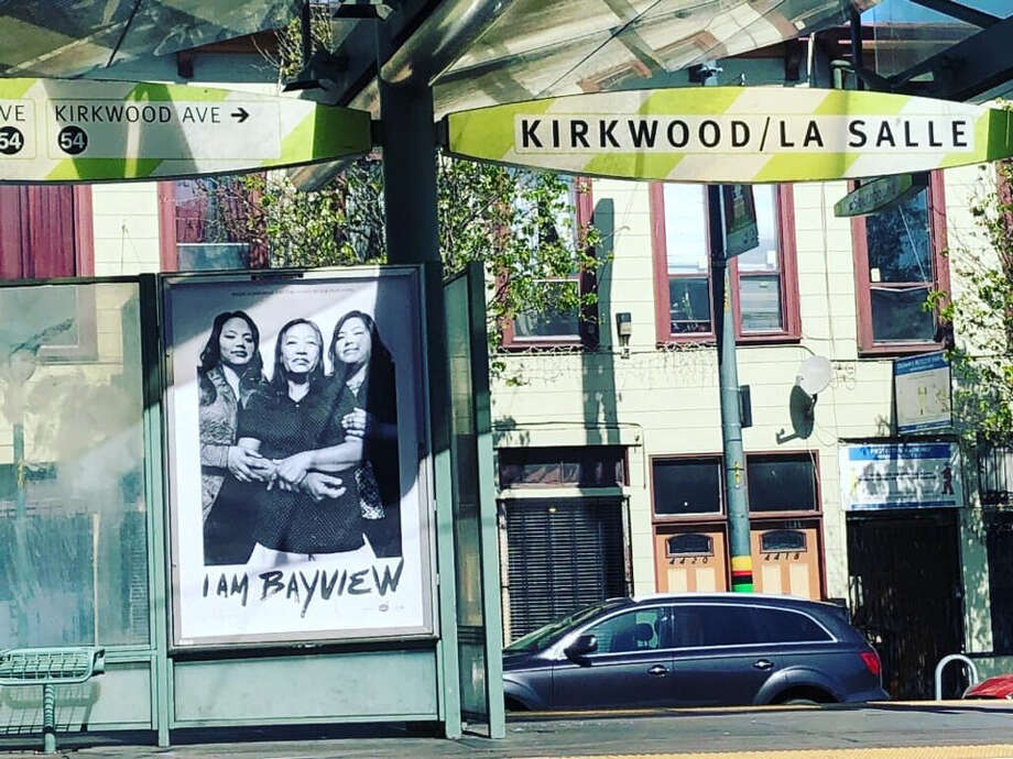 A new art installation featuring twenty-nine images of Bayview residents is sparking controversy among some residents. Photo: Meaghan Mitchell/Hoodline