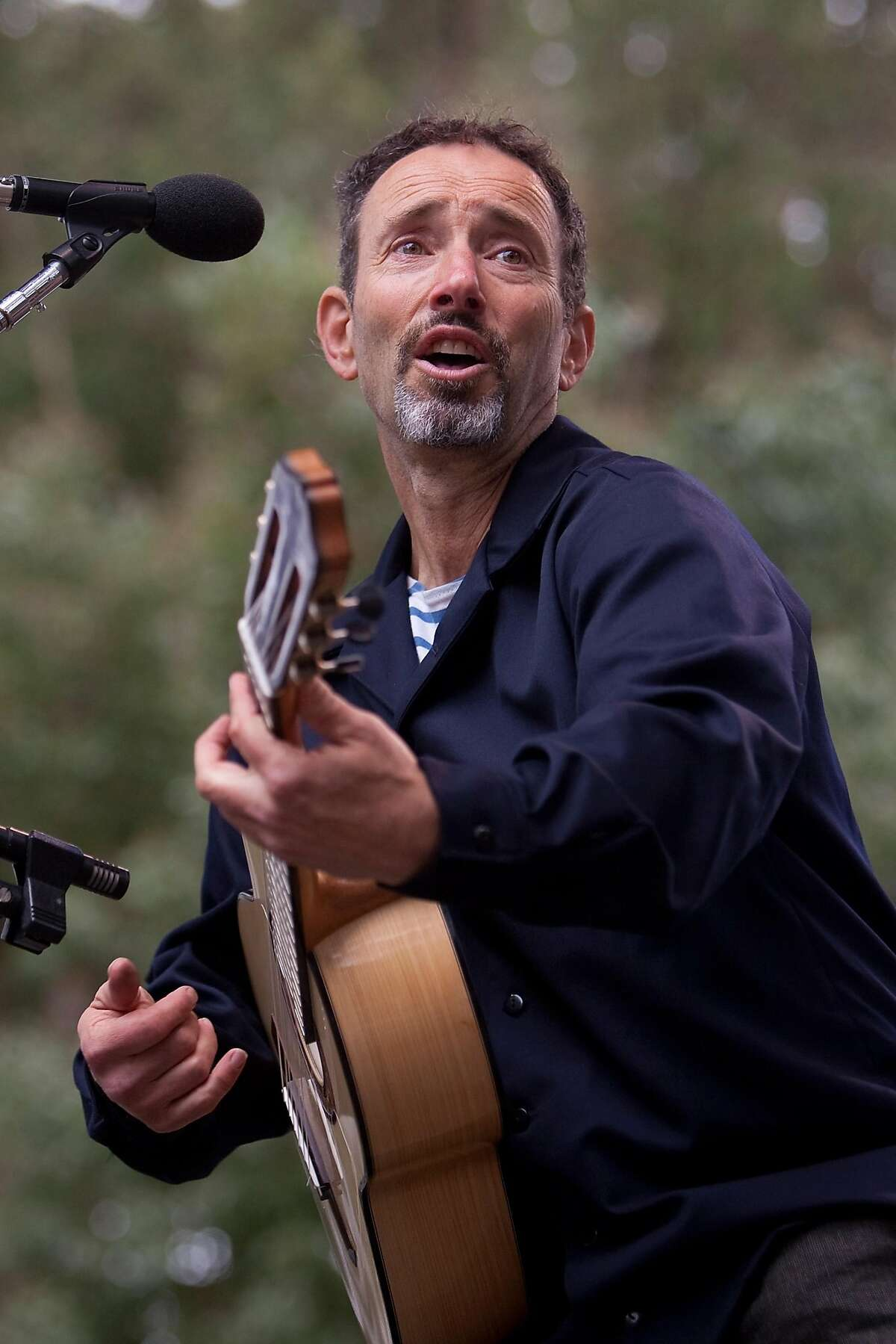 Jonathan Richman performs on the Rooster stage on day two of the Hardly Strictly Bluegrass Festival in San Francisco's Golden Gate Park on Saturday.
