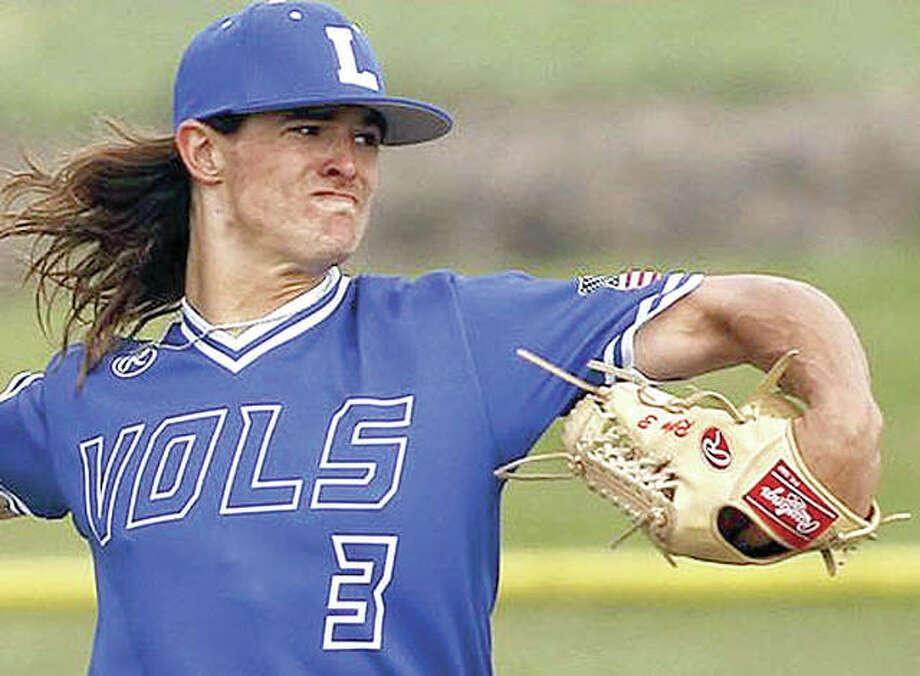 Former Edwardsville High pitcher Trey Riley, shown pitching last season for John A. Logan College, was selected Monday by the Atlanta Braves in the fifth round of the MLB Draft. Photo:     John A. Logan Athletics