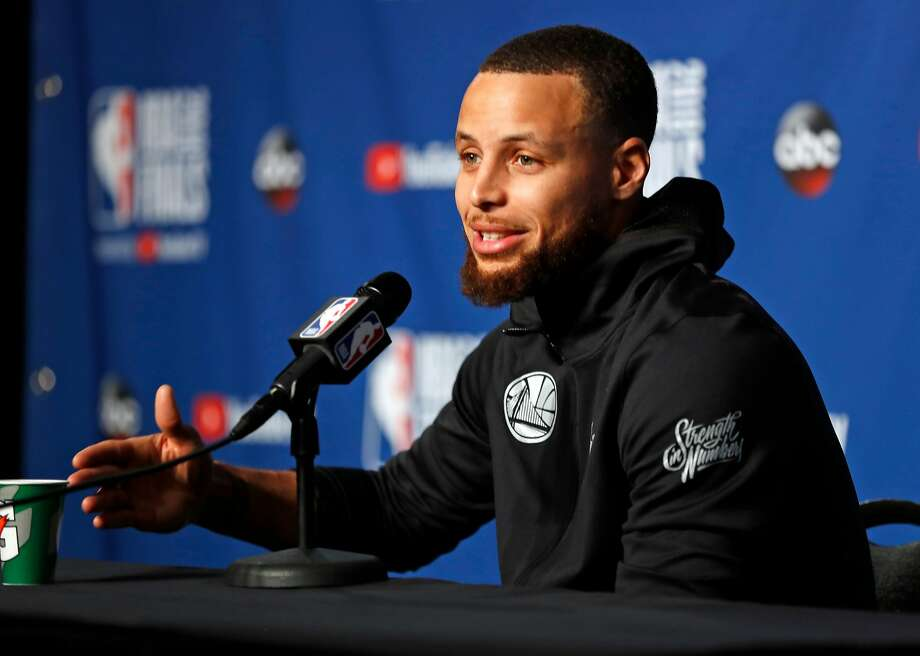 Golden State Warriors' Stephen Curry during press  conference in advance of Game 3 of the NBA Finals at Quickens Loan Arena in Cleveland, OH on Tuesday, June 5, 2018. Photo: Scott Strazzante / The Chronicle
