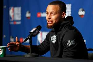 Golden State Warriors' Stephen Curry during press  conference in advance of Game 3 of the NBA Finals at Quickens Loan Arena in Cleveland, OH on Tuesday, June 5, 2018.