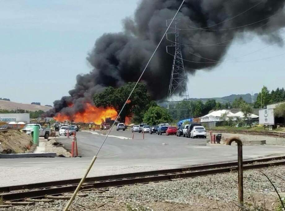 A massive fire Tuesday afternoon at Sonoma Pacific Co., a commercial lumber and pallet company, has forced evacuations near the site of the blaze, authorities said. Photo: Sonoma Valley Fire & Rescue Authority
