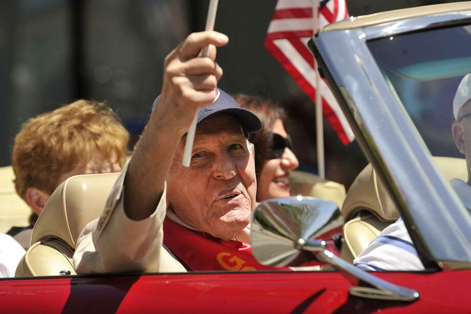 "The late city Rep. Robert ""Gabe"" DeLuca, a Korean War-era veteran, waves from a car during the Memorial Day parade in downtown Stamford in 2014. The Republican Town Committee must present a successor for DeLuca, who died last month, during the Board of Representatives' next meeting on July 9. Photo: Hearst Connecticut Media File Photo / Stamford Advocate"