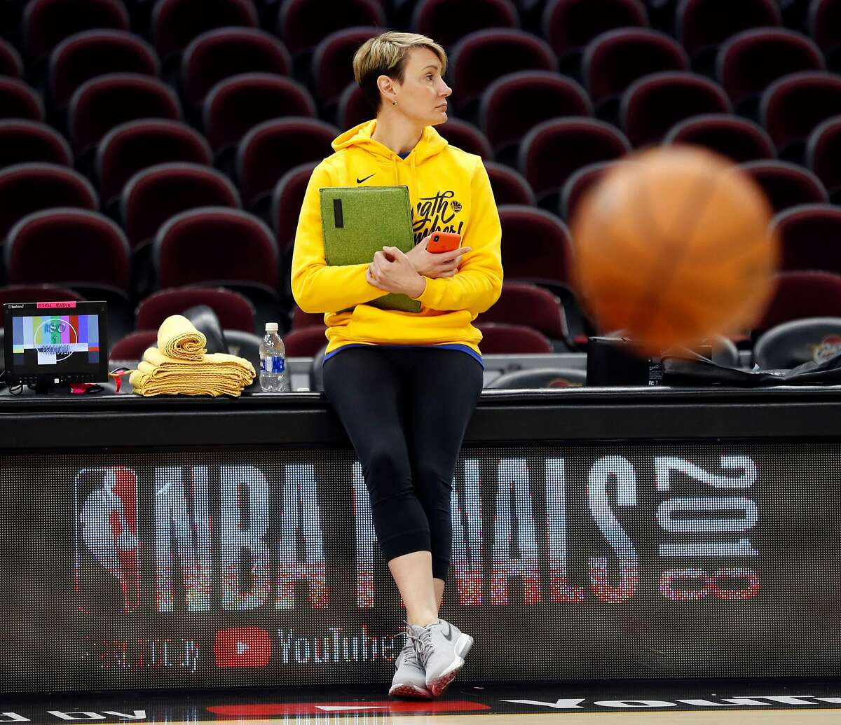 Golden State Warriors' head performance therapist Chelsea Lane during practice in advance of Game 3 of the NBA Finals at Quickens Loan Arena in Cleveland, OH on Tuesday, June 5, 2018.