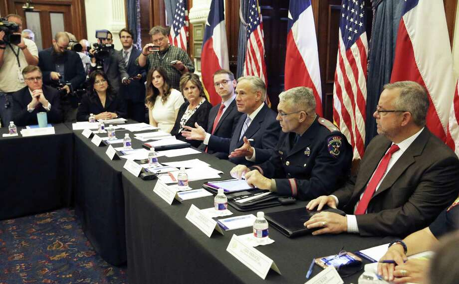 Governor Greg Abbott leads a roundtable discussion in his offices on guns in the wake of the Santa Fe shootings on May 22, 2018. Photo: Tom Reel, Staff / San Antonio Express-News / 2017 SAN ANTONIO EXPRESS-NEWS