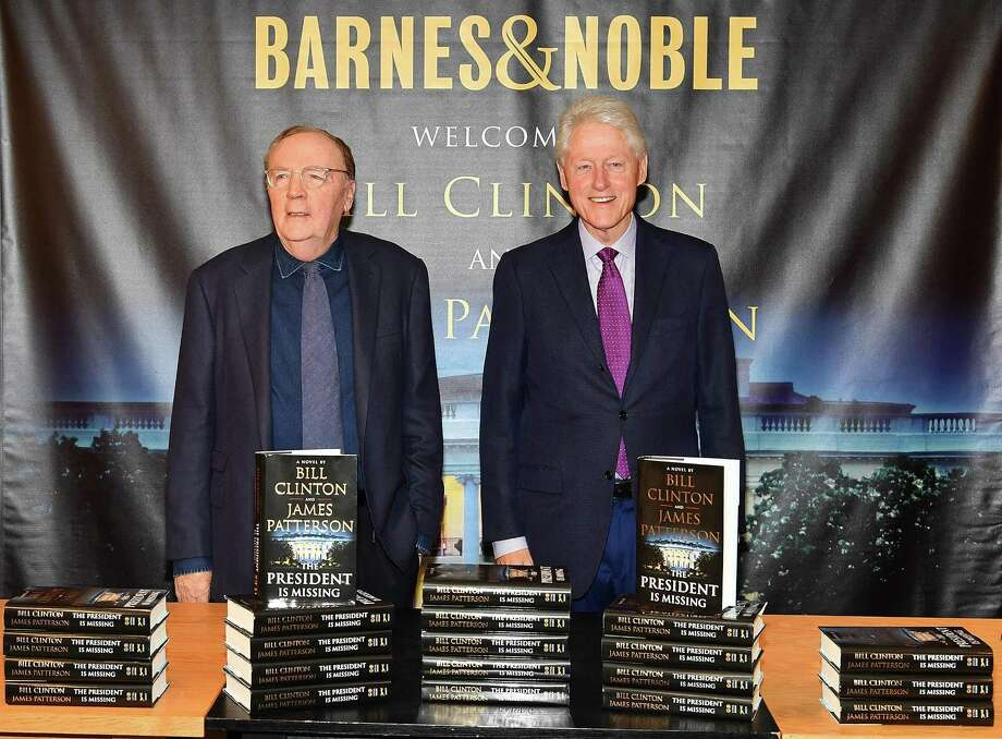 "NEW YORK, NY - JUNE 05: James Patterson (L) and Bill Clinton sign copies of their new book ""The President Is Missing"" at Barnes & Noble, 5th Avenue on June 5, 2018 in New York City. (Photo by Slaven Vlasic/Getty Images) Photo: Slaven Vlasic /Getty Images / 2018 Getty Images"