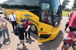 Jasper baseball players board a bus Tuesday to compete in the State tournament in Austin. The Bulldog's first game is Wednesday at 1 p.m.  Photo taken Tuesday, June 05, 2018  Guiseppe Barranco/The Enterprise