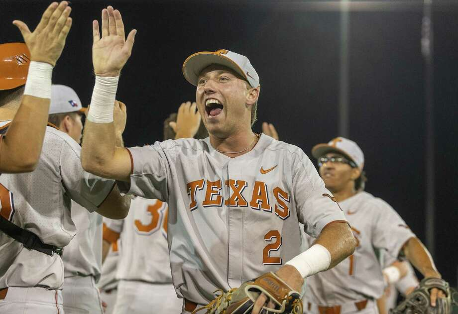 Texas' Kody Clemens celebrates a 3-2 win over Indiana during an NCAA regional game at UFCU Disch-Falk Field in Austin on Sunday, June 3, 2018. Photo: Stephen Spillman /For The Express-News / stephenspillman@me.com Stephen Spillman