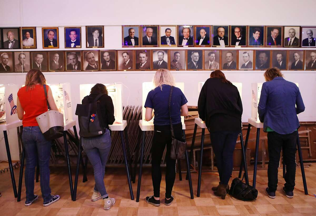 LOS ANGELES, CA - JUNE 05: Voters cast their ballots at a Masonic Lodge on June 5, 2018 in Los Angeles, California. California could play a determining role in upsetting Republican control the U.S. Congress, as Democrats hope to win 10 of the 14 seats held by Republicans. (Photo by Mario Tama/Getty Images)