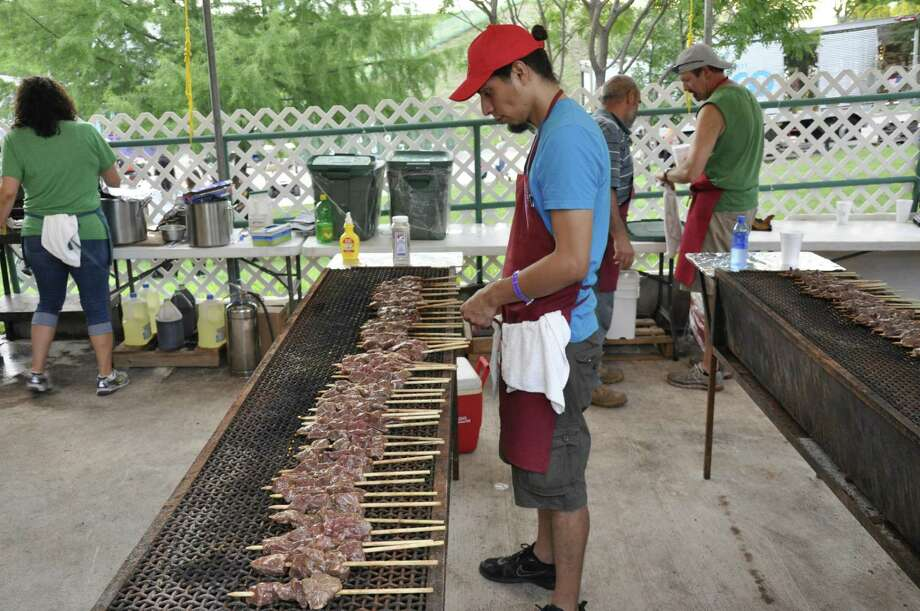 Beef kebabs on the grill at the Texas Folklife Festival. Photo: Courtesy Institute Of Texan Cultures