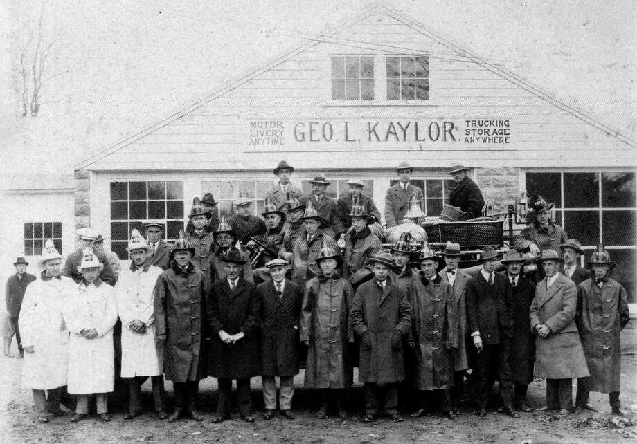 "Members of the Washington Volunteer Fire Department pose for a photograph in 1926 in front of the Geo. L Kaylor buisness in Washington Depot. If you have a ""Way Back When"" photograph you'd like to share, contact Deborah Rose at drose@newstimes.com or 860-355-7324. Photo: Courtesy Of The Washington Volunteer Fire Department / The News-Times Contributed"