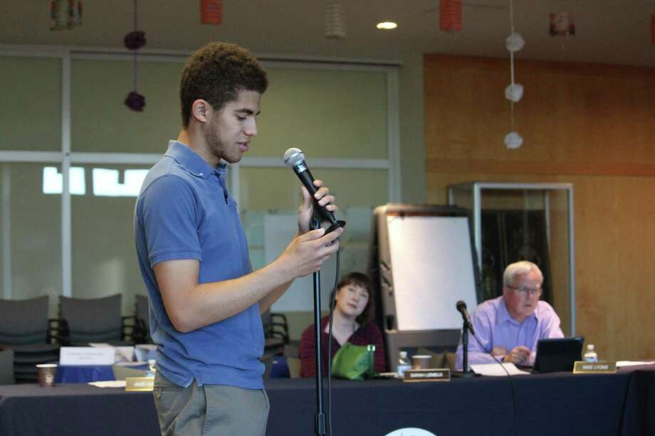 Chaz Bethel-Brescia, a senior at Norwalk High School, speaks at the Board of Education special meeting Tuesday, June 5, 2018. Photo: Stephanie Kim / Hearst Connecticut Media