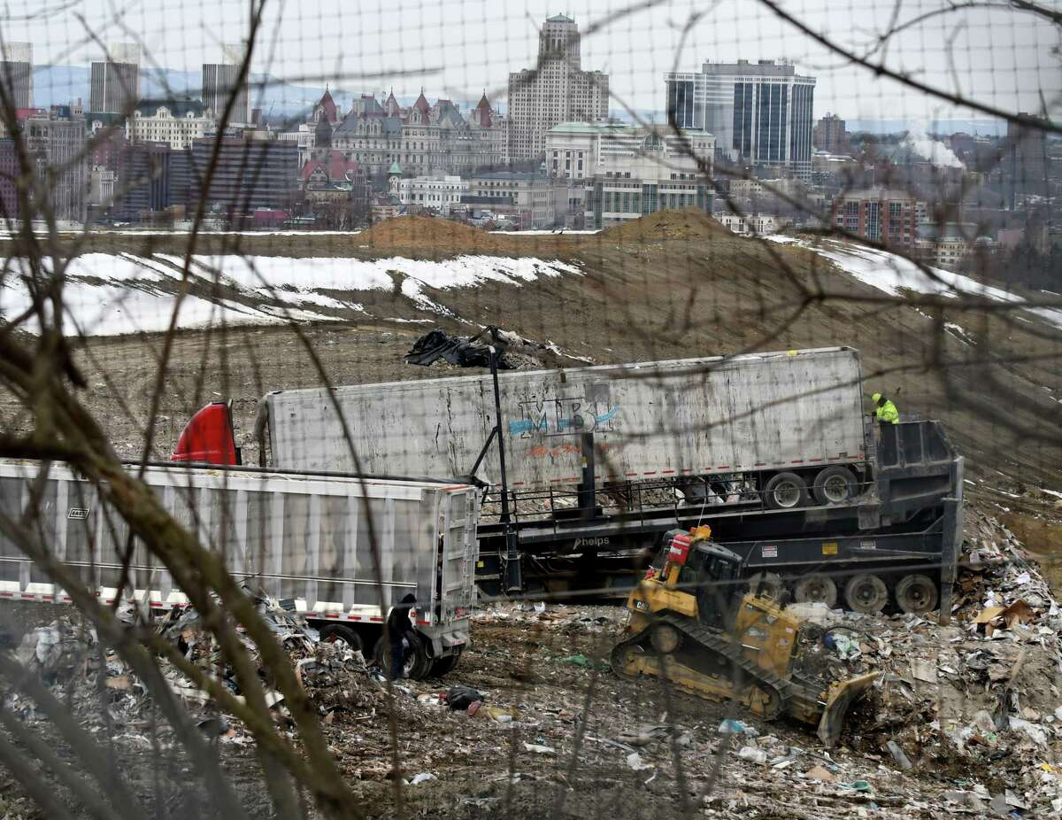 Garbage is dumped at the Dunn C&D Landfill on Wednesday, March 21, 2018, in Rensselaer, N.Y. (Will Waldron/Times Union)