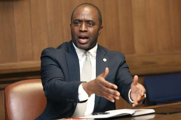 Tony Thurmond, candidate for Superintendent of Public Instruction, speaks at the San Francisco Chronicle on Thursday, March 22, 2018, in San Francisco, Calif.