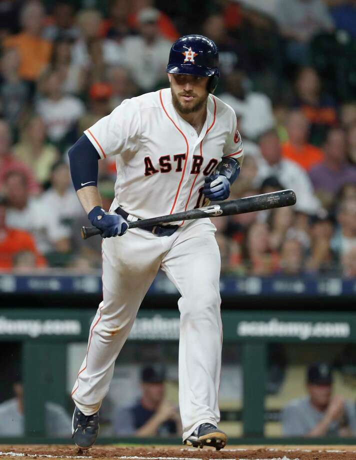 Houston Astros Max Stassi (12) throws his bat after grounding out during the fourth inning of an MLB game at Minute Maid Park, Tuesday, June 5, 2018, in La Porte. Photo: Karen Warren, Houston Chronicle / © 2018 Houston Chronicle