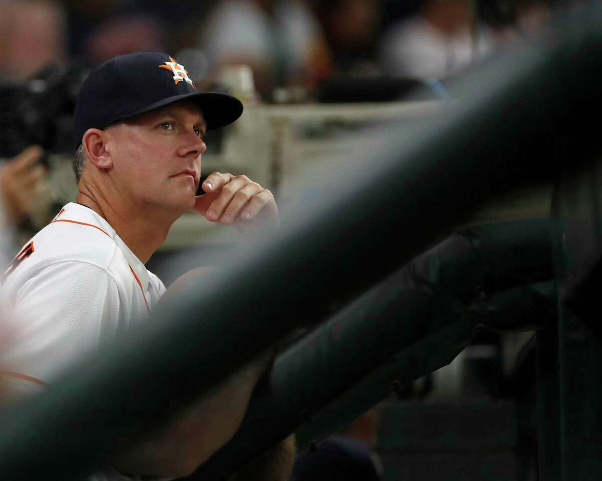 PHOTOS: See which Astros players heard trash can bags the most during the 2017 season Houston Astros manager AJ Hinch (14) in the dugout during the second inning of an MLB game at Minute Maid Park, Tuesday, June 5, 2018, in La Porte. >>>See how many bangs the players heard in this slideshow ...