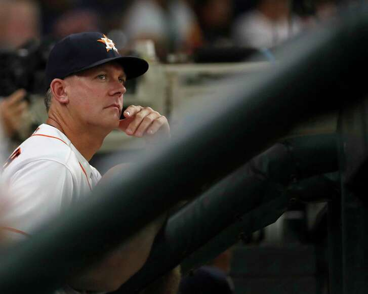 Houston Astros manager AJ Hinch (14) in the dugout during the second inning of an MLB game at Minute Maid Park, Tuesday, June 5, 2018, in La Porte.