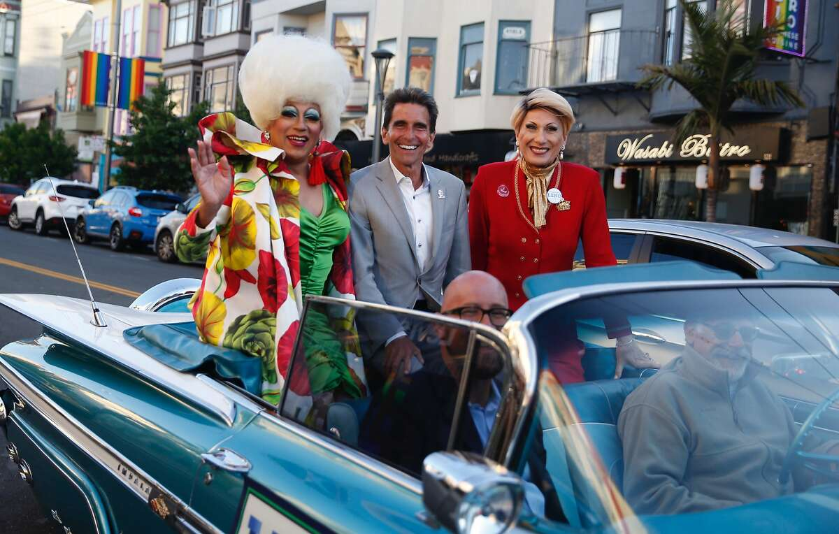 San Francisco mayoral candidate Mark Leno rides through the Castro District ahead of his election night party at Harvey Milk Plaza in San Francisco.