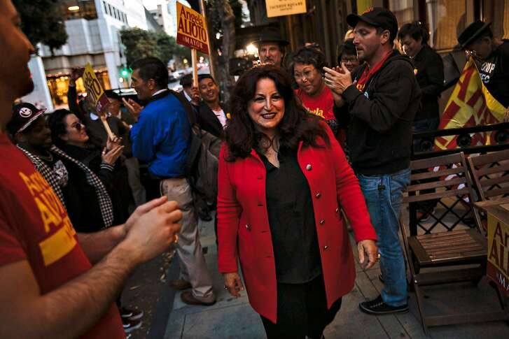 Supporters cheer San Francisco mayoral candidate Angela Alioto before entering the Taverna Aventine for her election party in San Francisco, Calif., Tuesday, June 5, 2018.