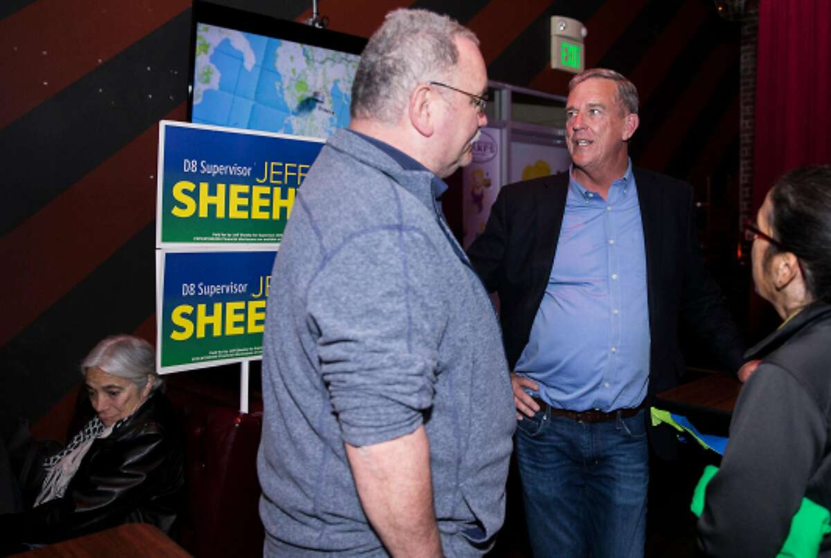 San Francisco District 8 Supervisor and candidate Jeff Sheehy chats with supporters during his election night party at his Hamburger Mary's in the Castro District of San Francisco, Calif. Tuesday, June 5, 2018.