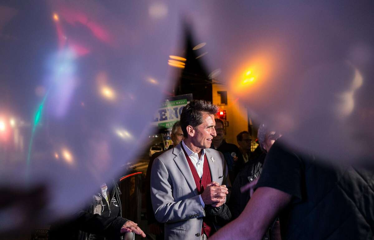 San Francisco mayoral candidate Mark Leno arrives at his election night party at Harvey Milk Plaza in the Castro District of San Francisco, Calif. Tuesday, June 5, 2018.