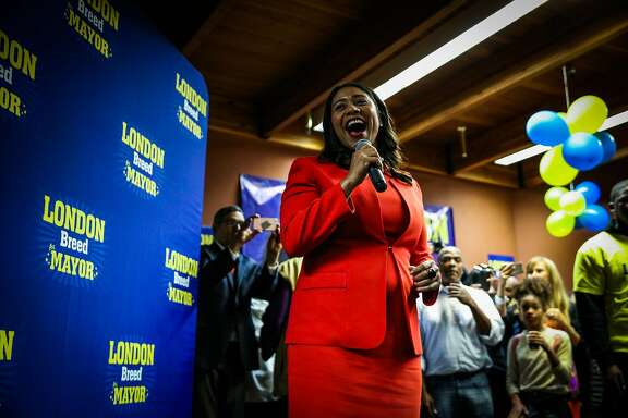 San Francisco mayoral candidate and Board of Supervisors President London Breed speaks to supporters at her election party in San Francisco, California, on Tuesday, June 5, 2018.