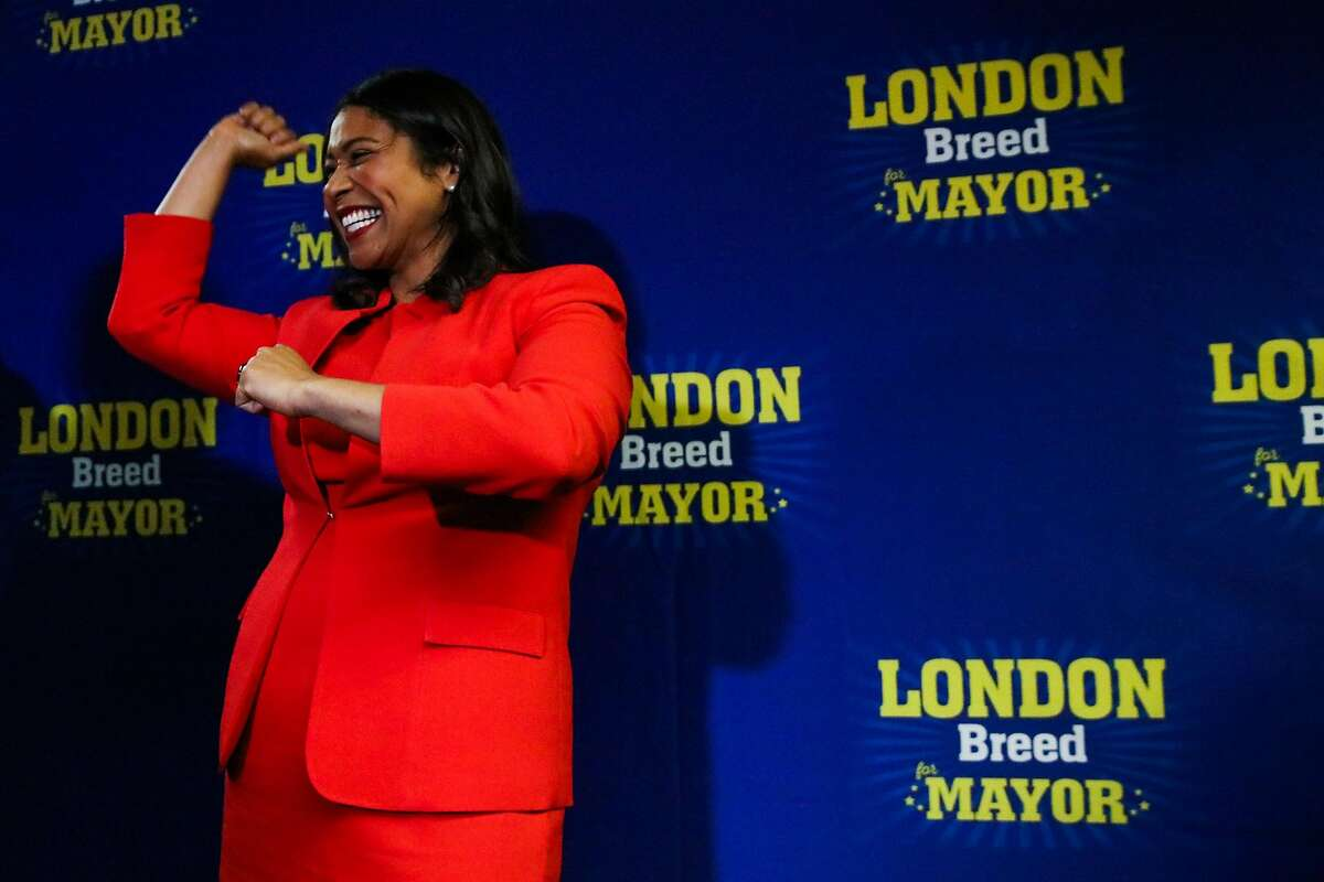 San Francisco mayoral candidate and Board of Supervisors President London Breed after speaking to supporters at her election party in San Francisco, California, on Tuesday, June 5, 2018.