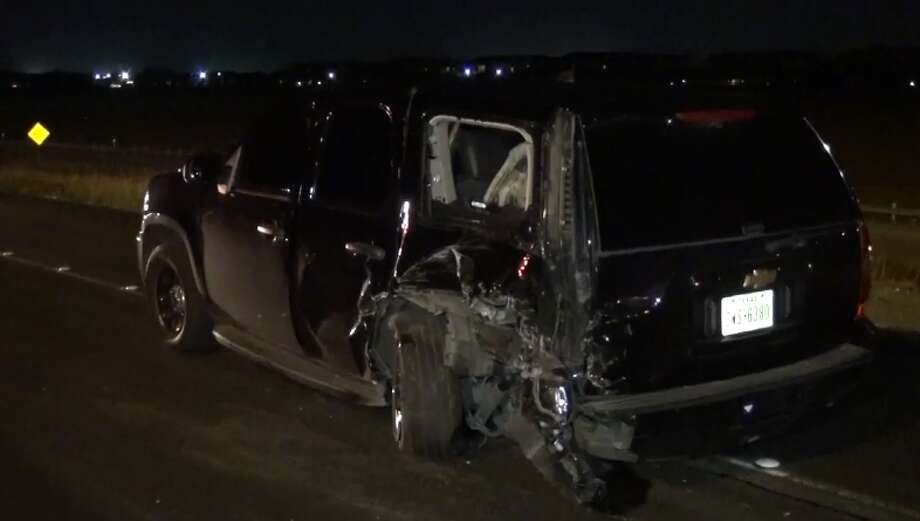A Houston police officer was hit by a possible drunken driver on Highway 288 near Orem, on Wednesday, June 6, 2018. Photo: Metro Video